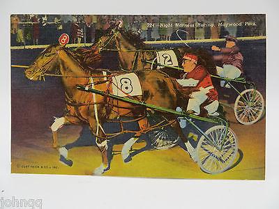 Vintage Postcard - Harness Racing, Maywood Park, IL - Horses - Unused