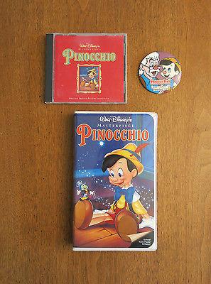 Disney Pinocchio Lot of 3-VHS Movie, CD Soundtrack & Pin