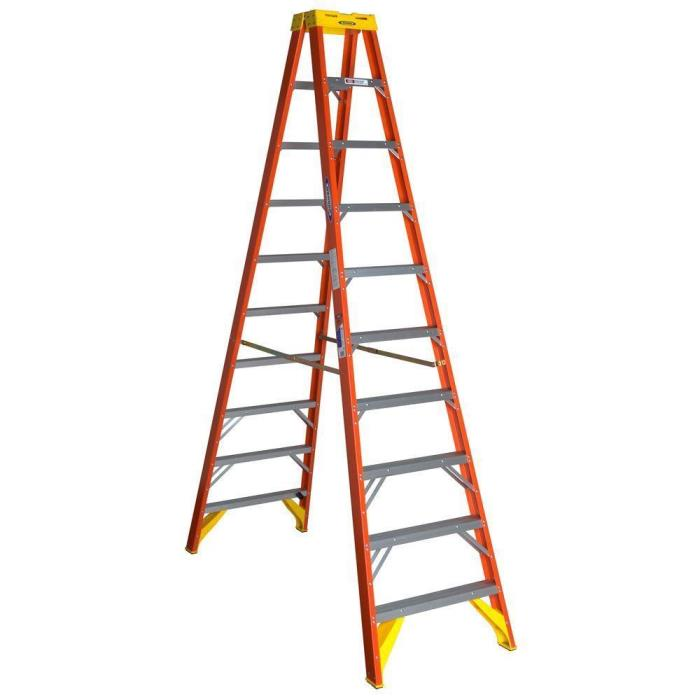 T6210 WERNER 10 Ft EXTRA HEAVY DUTY FIBERGLASS TWIN STEP LADDER 300 LB CAPACITY