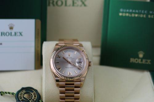 Rolex Day-Date 40mm President 18k Everose Gold Roman Marker 228235