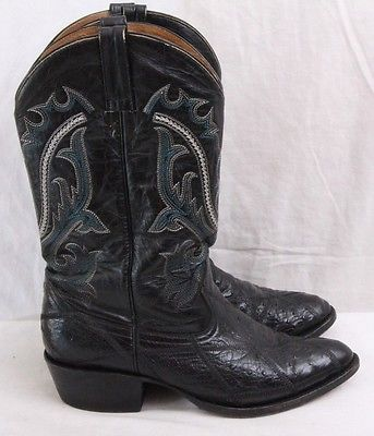 Amazonas Black Leather Pull-On Ostrich Botas Western Cowboy Boots Men's U.S. 9.5