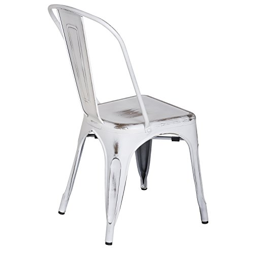 ELEGAN Metal Stackable Tolix Industrial Style Dining Chairs Distressed White