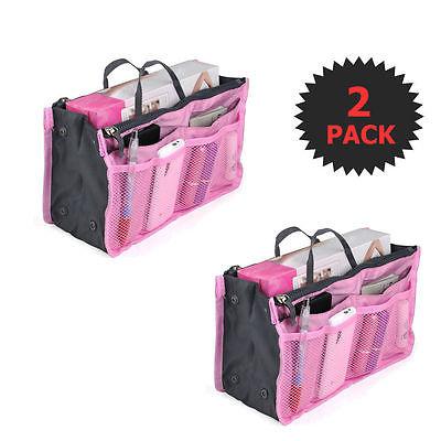 Pink 2 X Large Purse Organizer Insert Pack Women Travel Set Handbag Liner Tidy D
