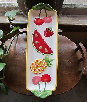 Attractive Raised Colorful Fruit Ceramic Dish