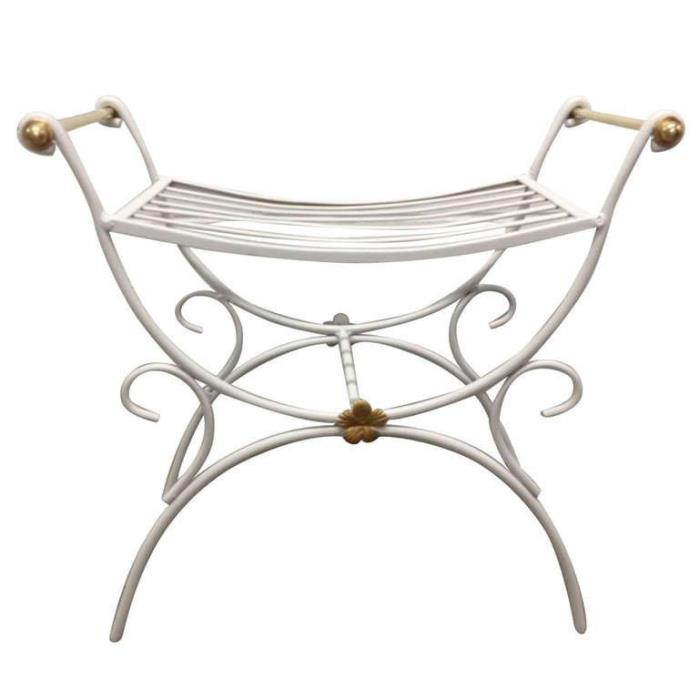 Painted French Style Wrought Iron Bench