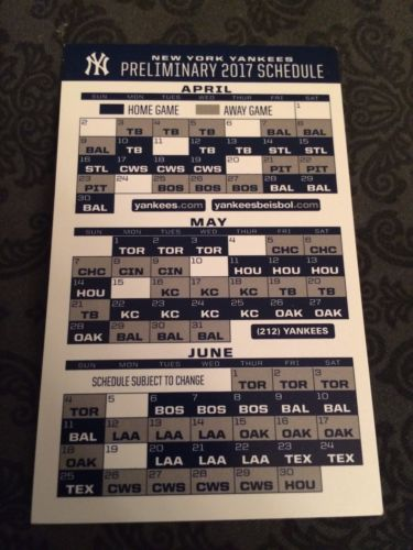 2017 New York Yankees Baseball Pocket Schedule Card