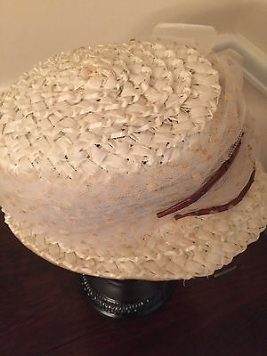 Vintage Hat Off White Straw with Netting and Flower Nice