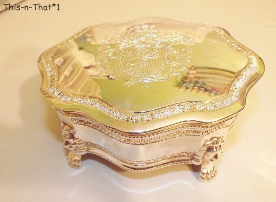 Lovely Ornate Silver Plate Jewelry Trinket Box Velvet Lined Lion Head Feet