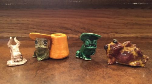 Lot of 4 Miniature Frog Figurine Mexican Pottery Hand Painted Cigarette Snuffer