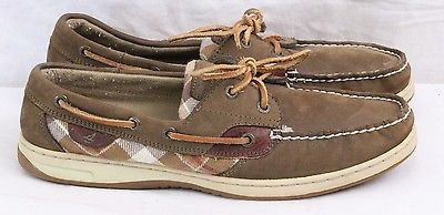 Sperry Top-Sider 9174376 Moc Toe Olive Green Plaid Boat Loafers Women's US 10 M