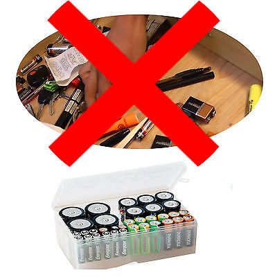 Battery Caddy Storage Plastic Holder Box Rack Organizer Case Up To 34 AAA AA C D