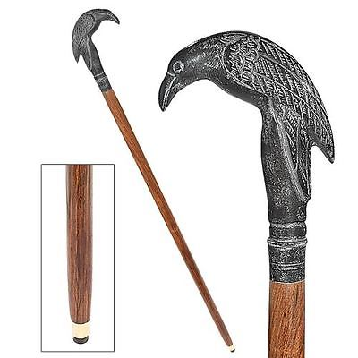 Poe's Mystic Raven Solid Hardwood Walking Stick