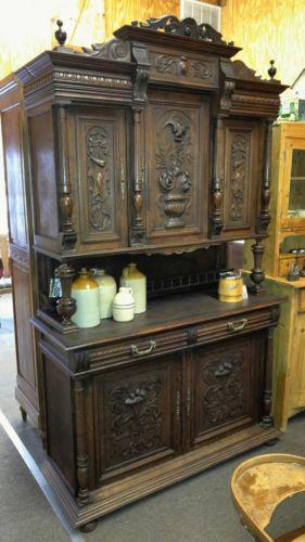 Antique 8 Feet Tall Hunt Cabinet Massive Step Back Server