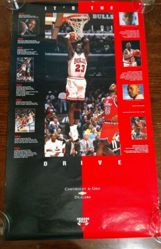 MICHAEL JORDAN POSTER It's The Drive Chevy 1996 VINTAGE CHICAGO BULLS 22X36 NICE