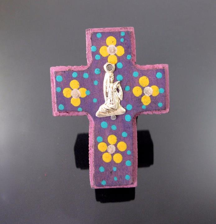 Tin Milagros Mexican Folk Art Our Lady of Guadalupe Wood Cross Wall Ornament