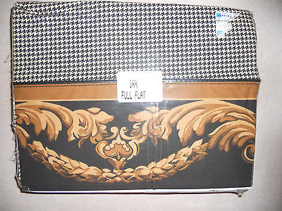 Vintage full flat sheet - black/white Sheet with black/gold design