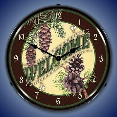 New WELCOME cabin woods style house LIGHTED clock with pine cones Free Fast Ship