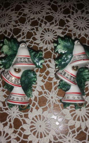 Vintage Lefton Christmas Bells and Holly Leaf Candle Napkin rings Huggers