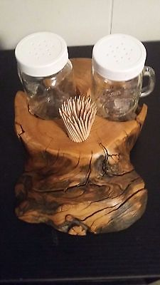 Salt & Pepper Shaker Holder Kitchen Cabin Lake Log Home Decor