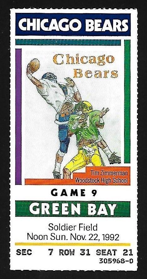 Brett Favre 1992 1ST Win vs Bears 1st R TD Ticket Stadium Club Packers Rookie RC
