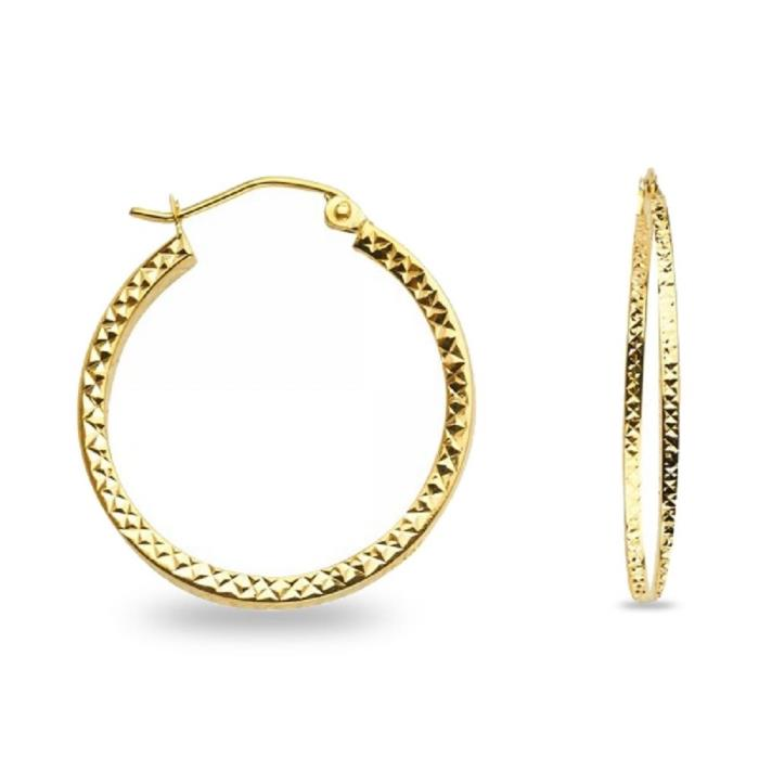 Hollow Round Hoop Earrings Solid 14k Yellow Gold Square Tube Diamond Cut Fancy
