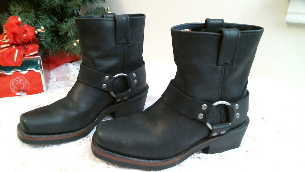 HARLEY DAVIDISON SIZE 7 womens BLACK LEATHER  Motorcycle boots