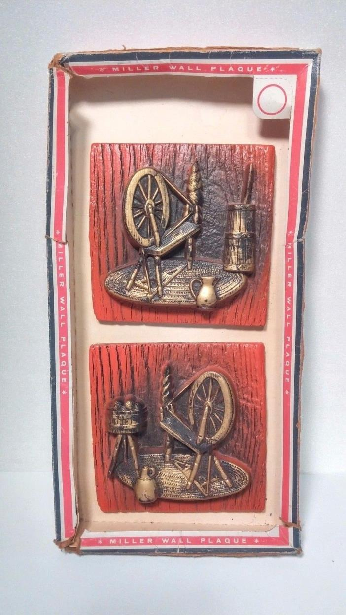 Chalkware Spinning Wheels Rustic Home Decor Miller Studios Wall Plaques NOS
