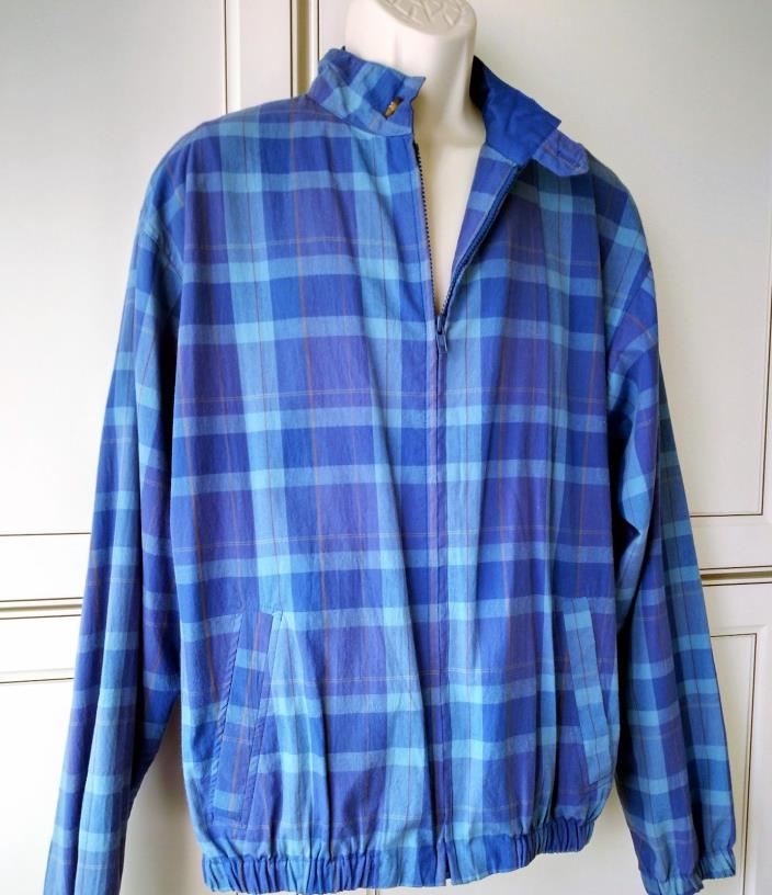 Duckster Mens Golf Jacket Large Windbreaker Lined Plaid