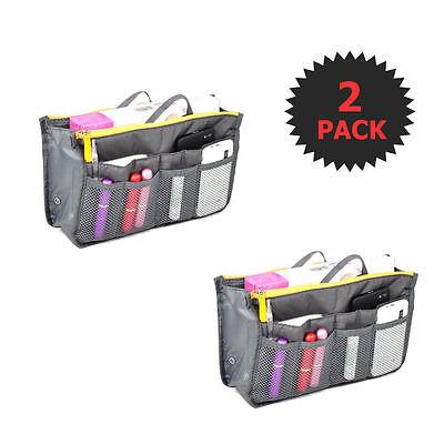 Gray 2 X Large Purse Organizer Insert Pack Women Travel Set Handbag Liner Tidy D