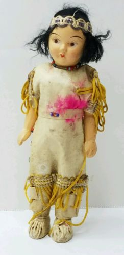Vintage Native American Indian Doll Hand Painted
