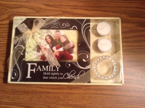 Family 4 x 6 frame , candle and holder gift set