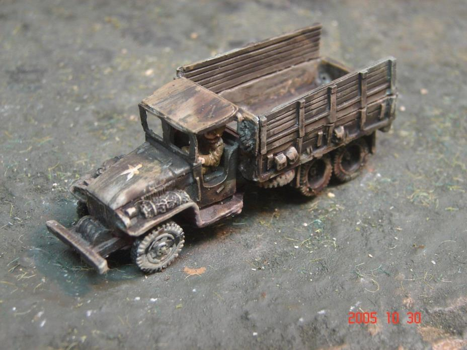 Painted Flames of War American Weathered 2 1/2 Ton Truck with Driver