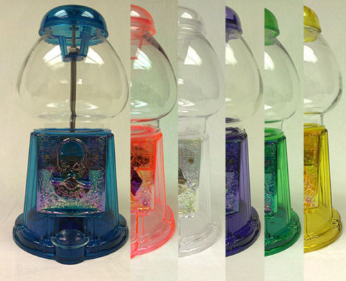 Colored Transparent Antique Style Gumball Machine Bank