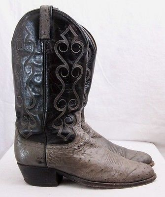 Dan Post D1467 Gray Ostrich Pull On Western Cowboy Boots Men's U.S. 8.5 D