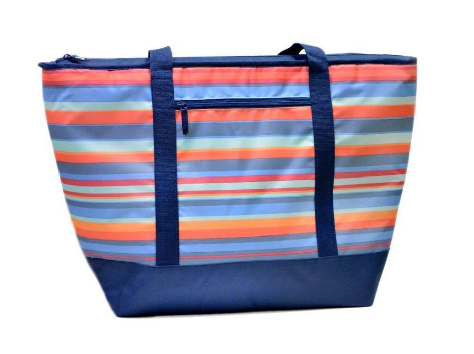 Cooler Insulated Mega Tote Bag  XXL Multi Striped for Hot & Frozen Food NWT