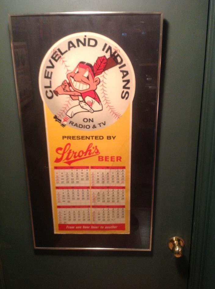Vintage Cleveland Indians Strohs beer baseball schedule very large
