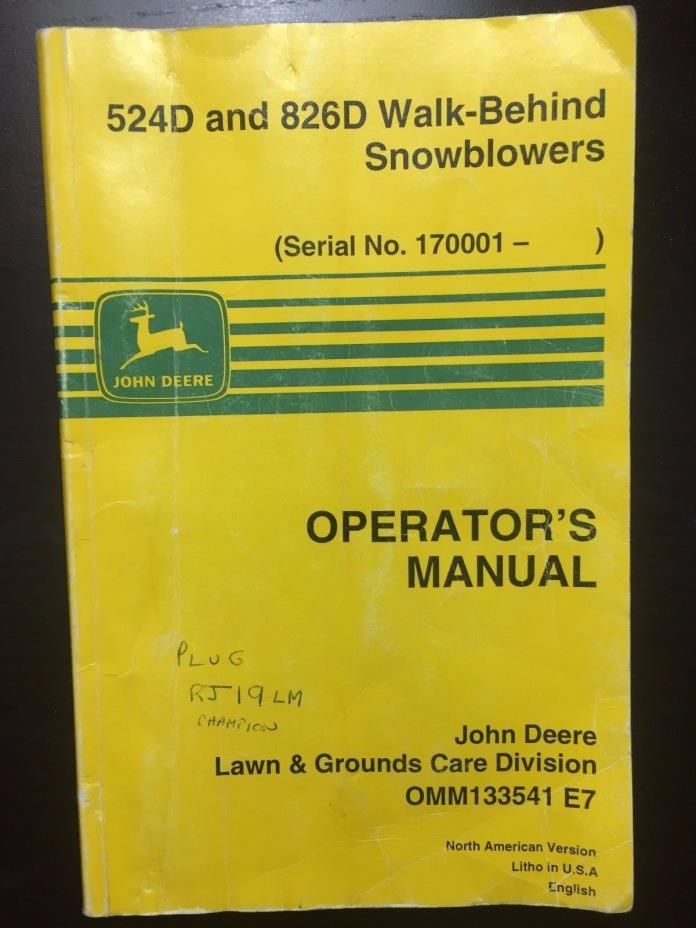 john deere 826 snowblower manual