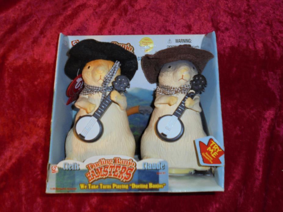 """GEMMY """"Cletis & Claude"""" HAMSTERS ~ """"Dueling Banjos!"""" ~ 2003 ~ *NOS!* vintage"""