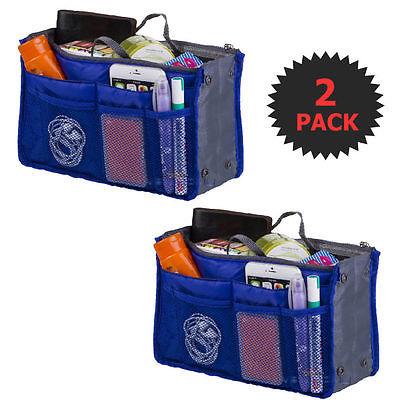 Blue 2 X Large Purse Organizer Insert Pack Women Travel Set Handbag Liner Tidy D