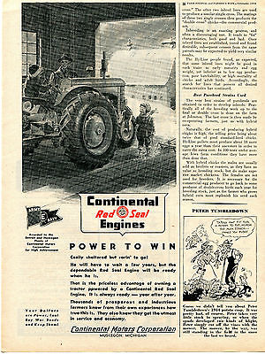 1945 Continental Red Seal Engines Power To Win Farm Tractor Ad Muskegon MI