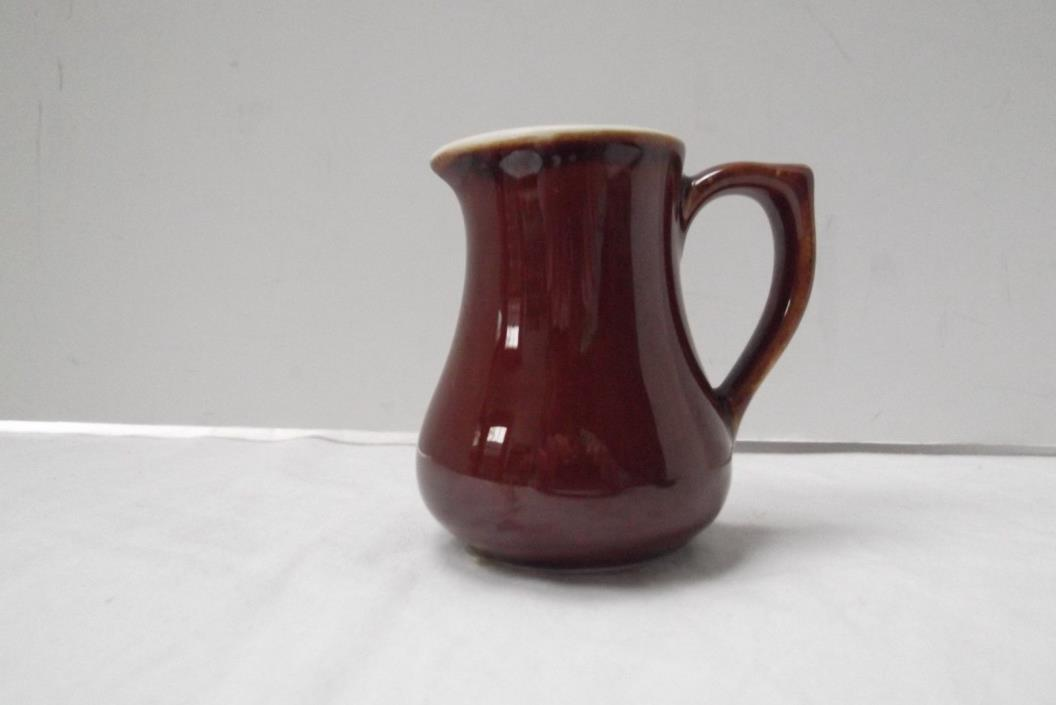 vtg Hall 3in small individual brn glaze pottery ceramic porcelain cream pitcher