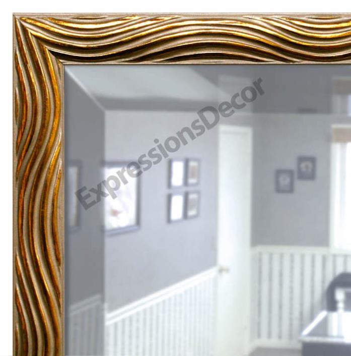 Custom Gold & Silver Swirl Beveled Wall Mirror, Mantle & Bathroom Decor