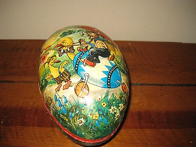 Vintage (1960's) Paper Mache 8 in. Egg with Rabbit & Ducks Made Western Germany