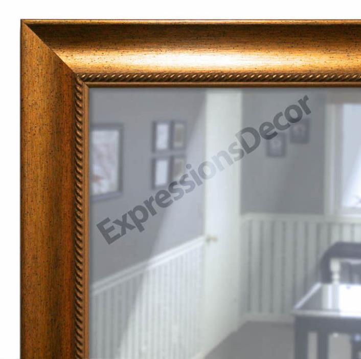 Custom Gold Speckle Rope Design Flat Glass Wall Mirror, Mantle & Bathroom Decor
