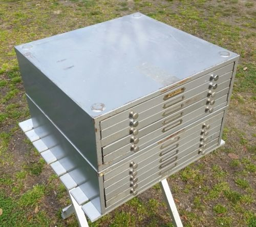2 Vintage 5 Drawer Mid Century Industrial Metal Stacking Cabinets w/ Dividers