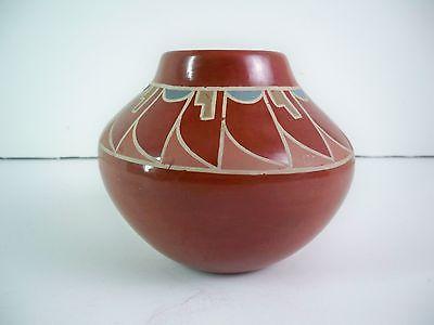 Santa Clara Pueblo Indian Pottery Red Feather Bowl - Naranjo