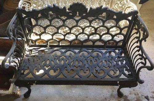 Vintage Ornate Cast Iron Outdoor Garden Patio Bench