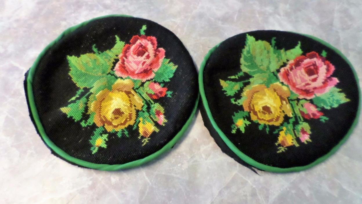 Vintage Needlepoint Tapestry Round Chair Covers 2 Black with Roses