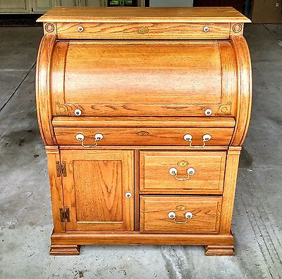 CYLINDER ROLL TOP DESK - Vintage Antique - Solid oak, Amish made in Ohio.