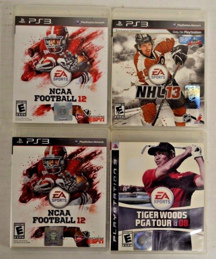 Lot of (4) Playstation 3 PS3 Used Games NHL 13 NCAA 12 Tiger Woods PGA 08 A462